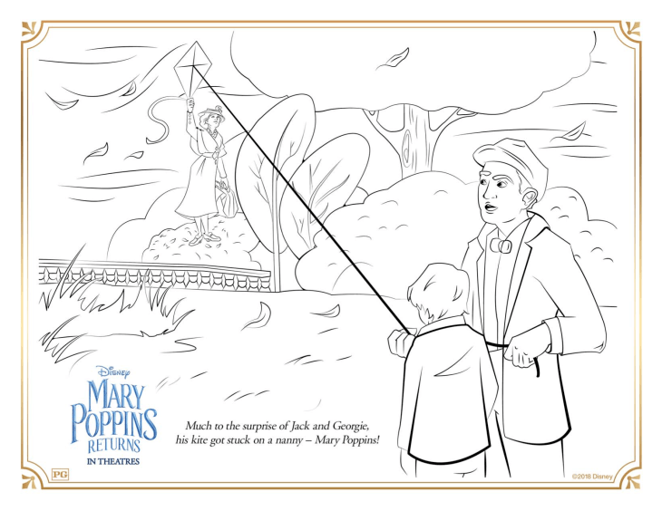 Free Mary Poppins returns coloring page to download