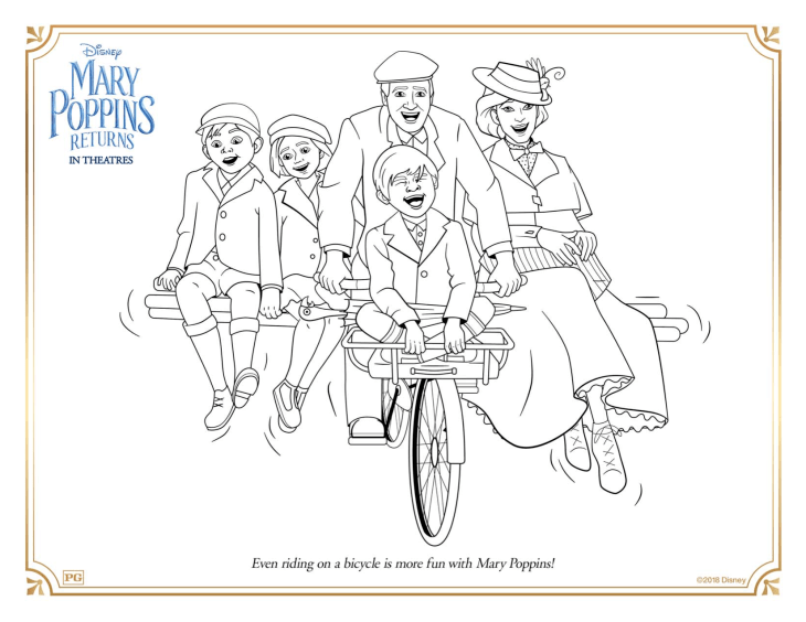 Easy free Mary Poppins returns coloring page to download