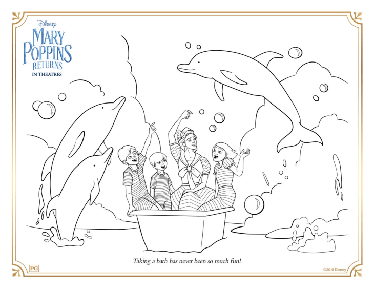 Funny free Mary Poppins returns coloring page to print and color