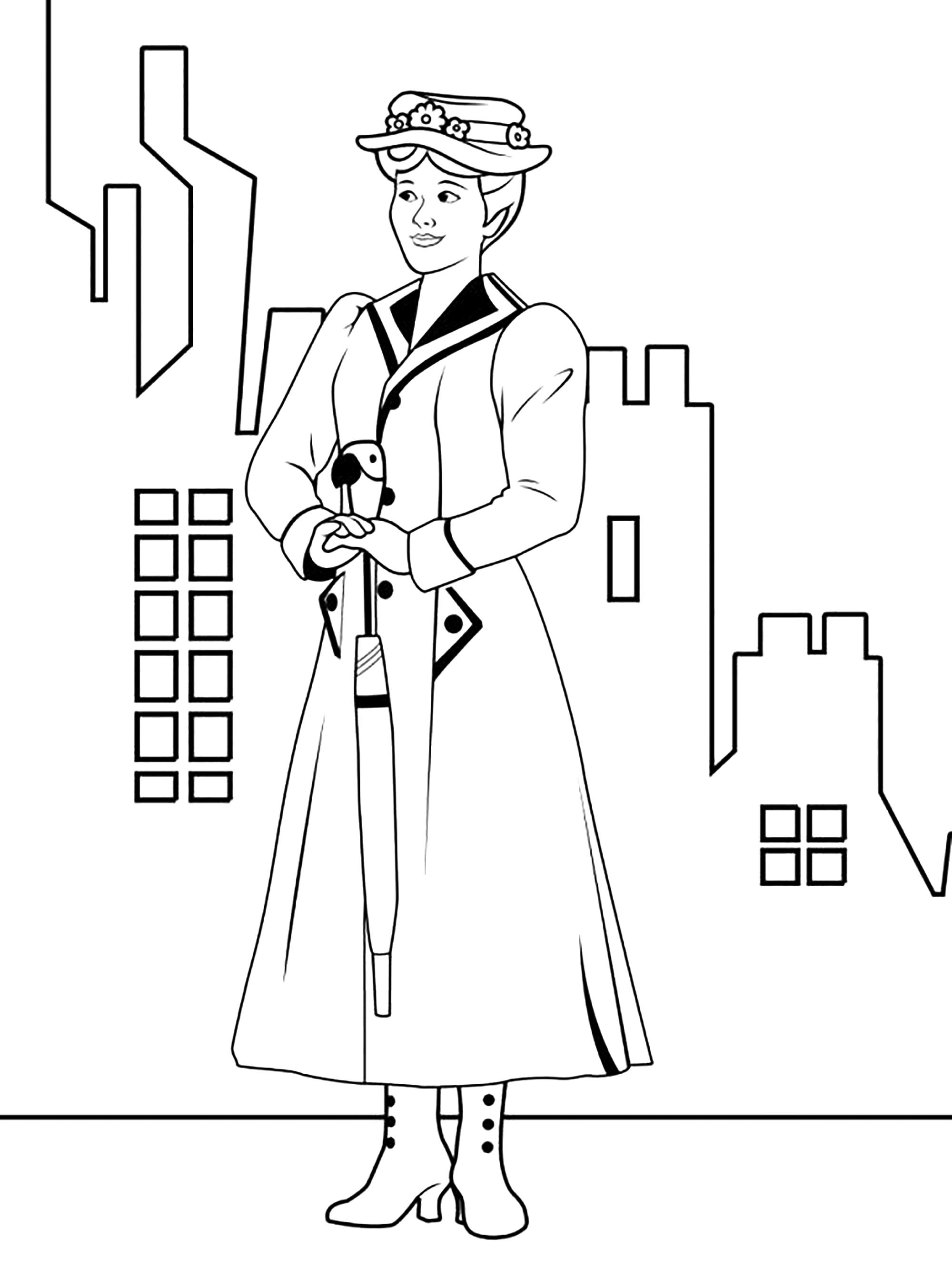 Funny Mary Poppins coloring page