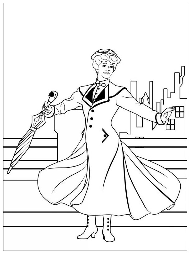 Mary Poppins coloring page with few details for kids