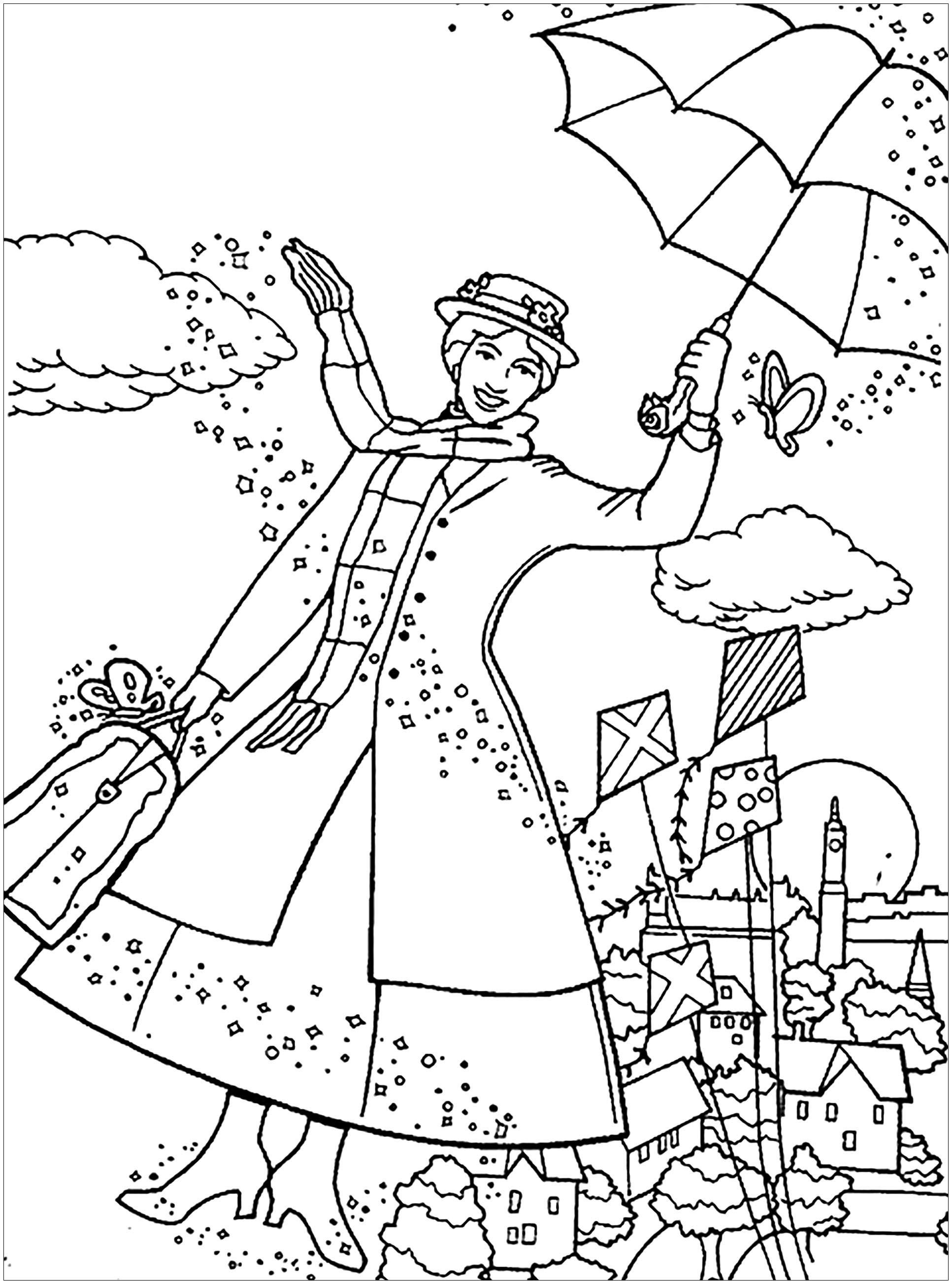 удивляет мэри поппинс раскраска рисунки сервал грациозный