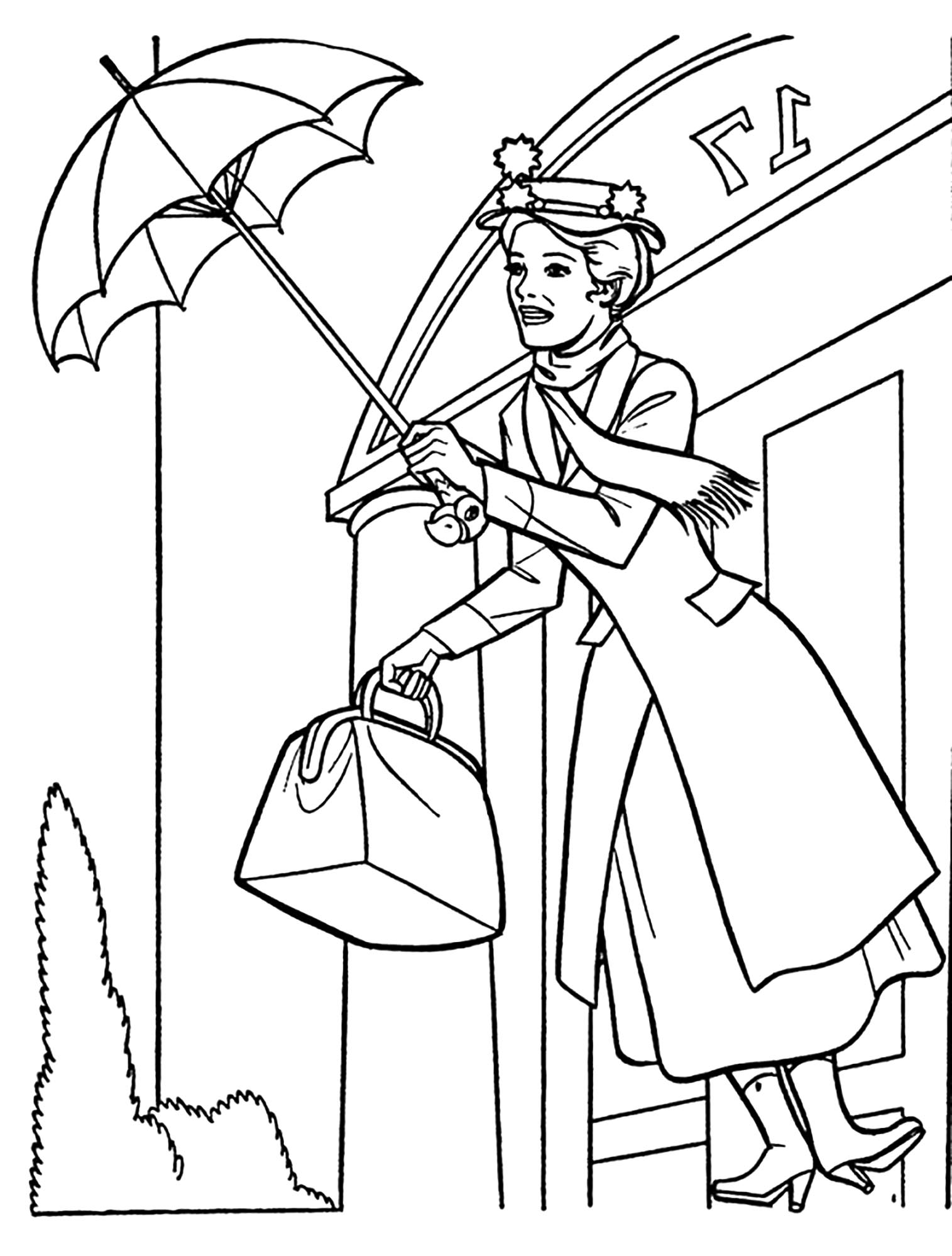Simple Mary Poppins coloring page to print and color for free