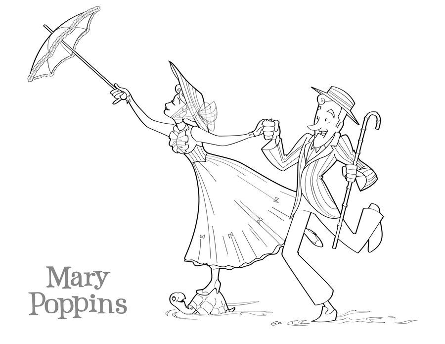 Simple Mary Poppins coloring page to download for free