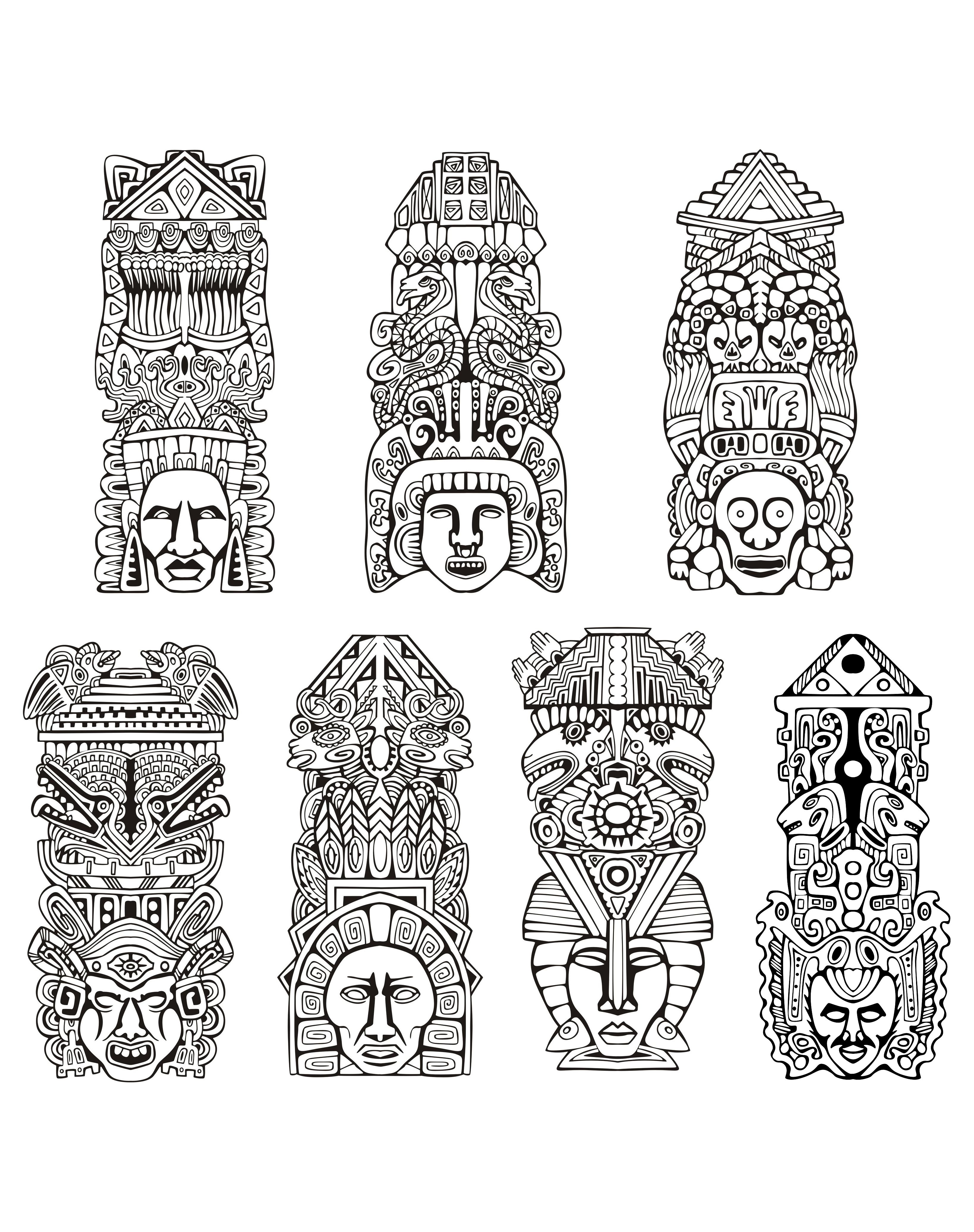Masks coloring page with few details for kids