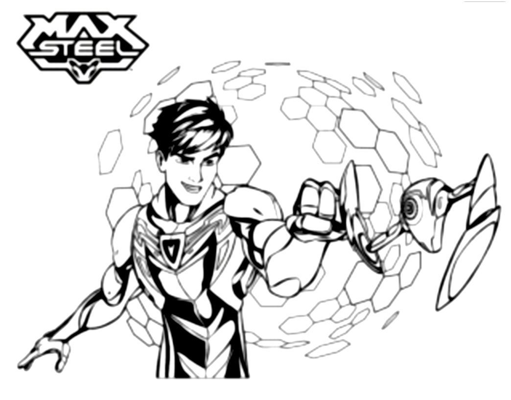 Funny Max Steel coloring page for kids