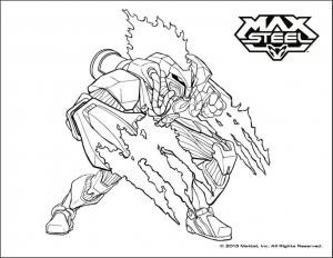 Coloring page max steel for kids