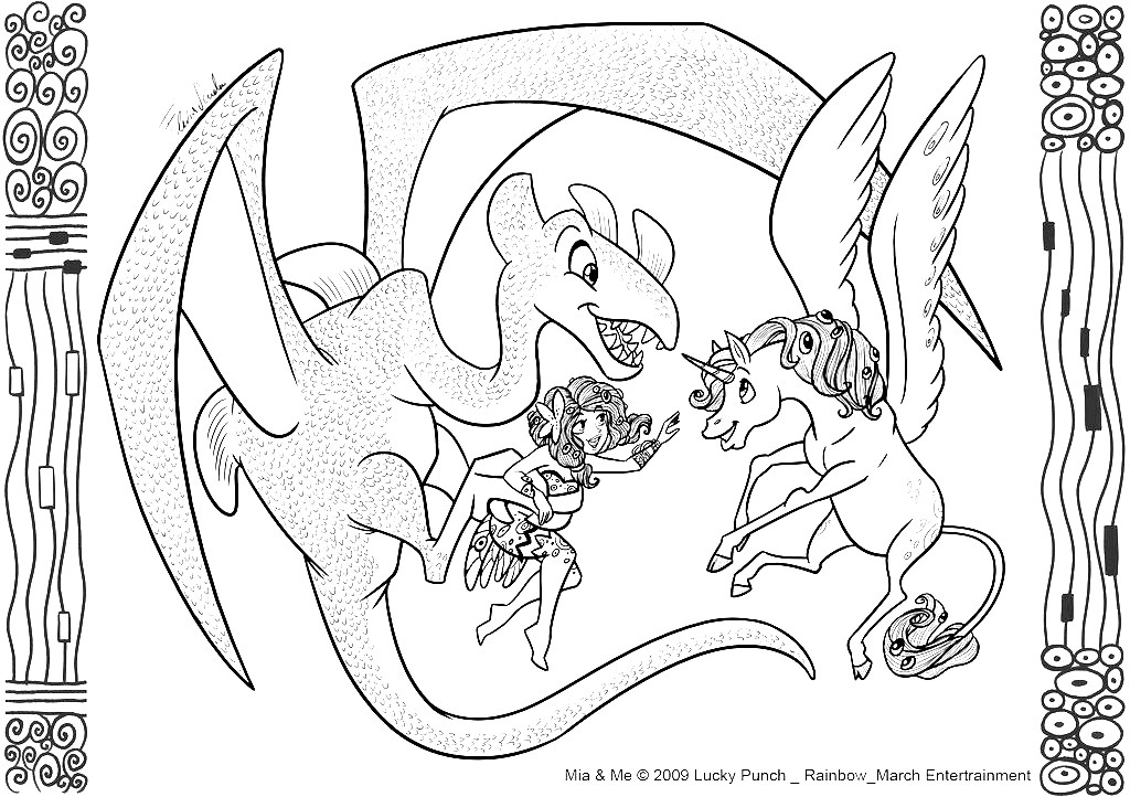 Funny free Mia And Me coloring page to print and color