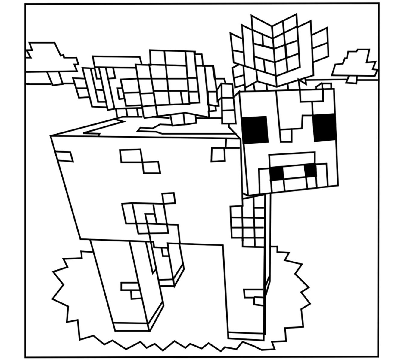 Minecraft Coloring Page With Few Details For Kids