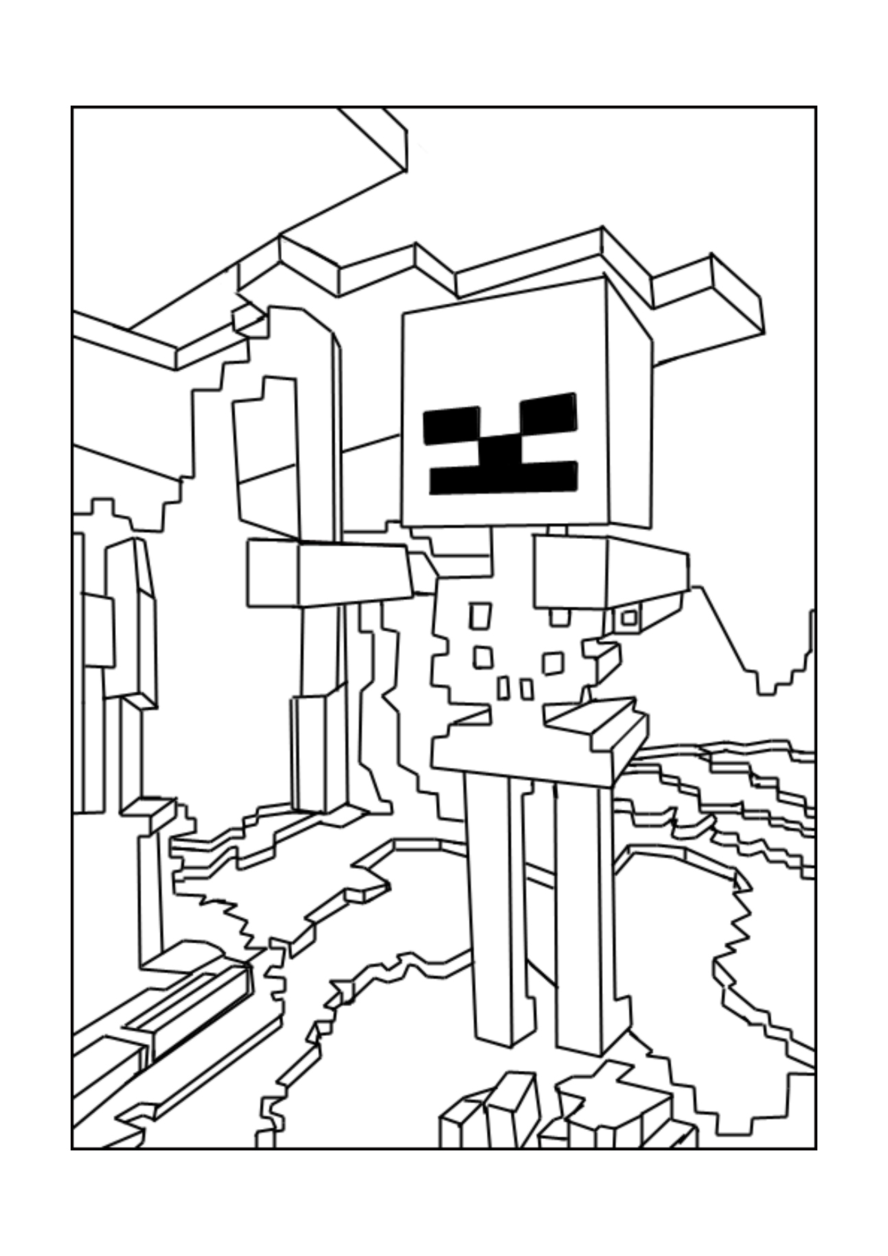 Beautiful Minecraft coloring page to print and color
