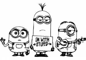 Coloring page minions to color for children