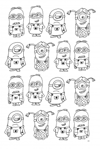Coloring page minions free to color for children
