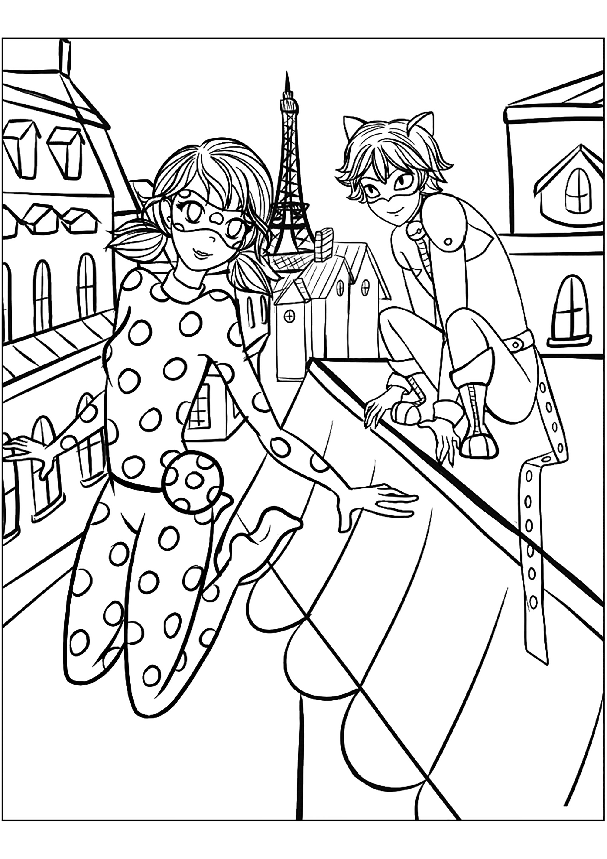 Funny Miraculous Lady Bug coloring page for children