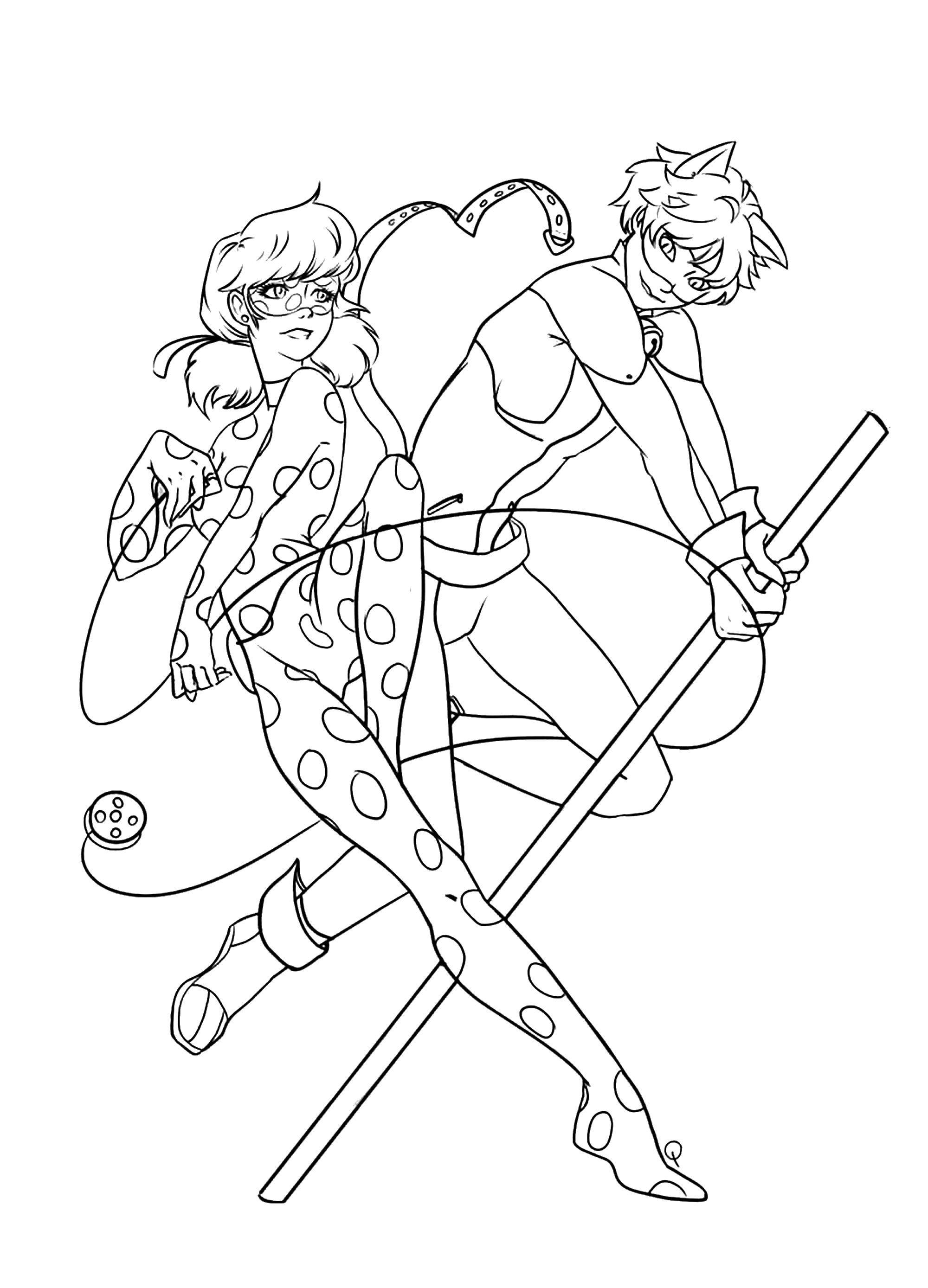 Simple free Miraculous Lady Bug coloring page to print and color