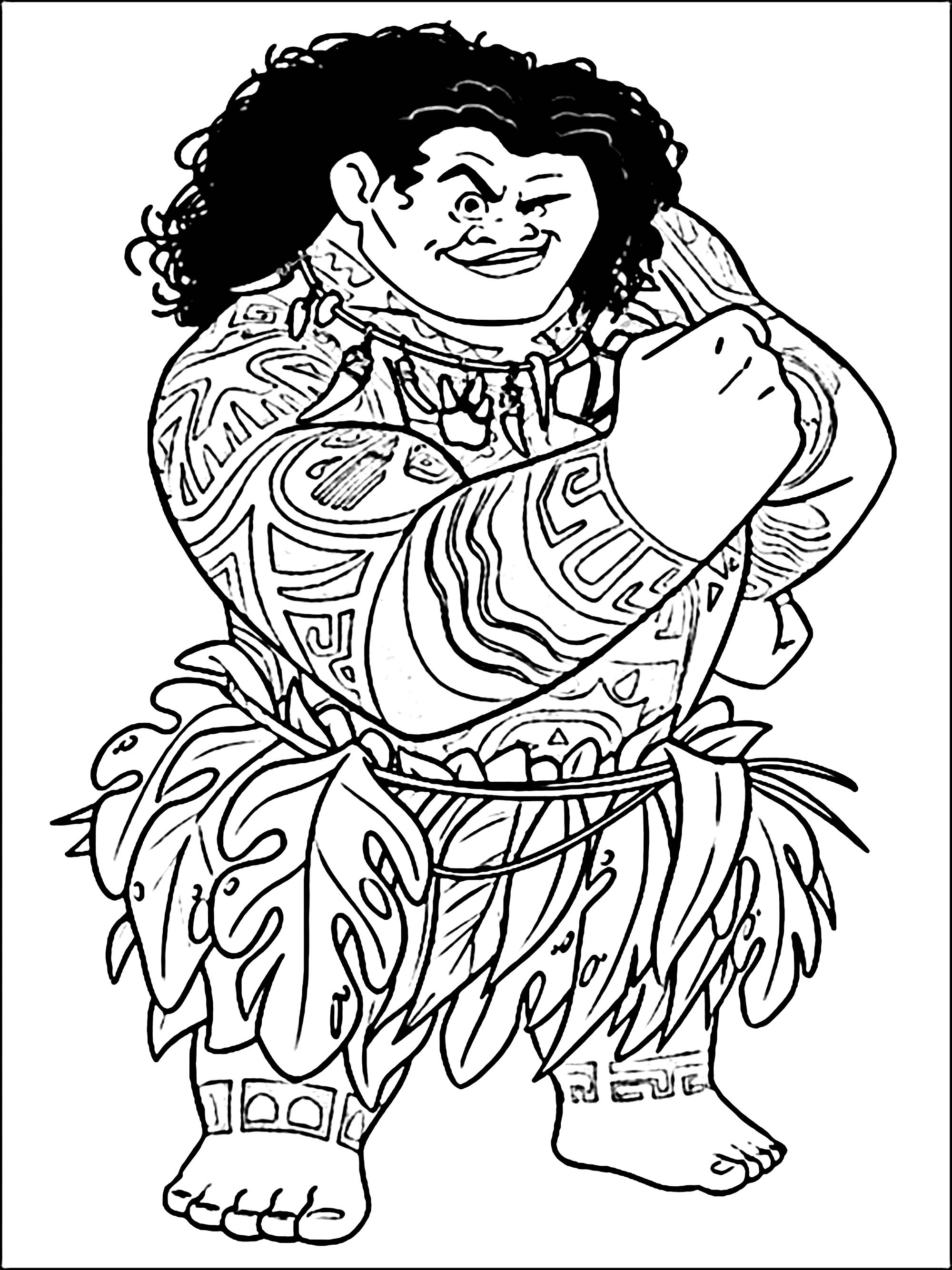 Simple Moana coloring page to print and color for free : Chief Tui and all his tattoos