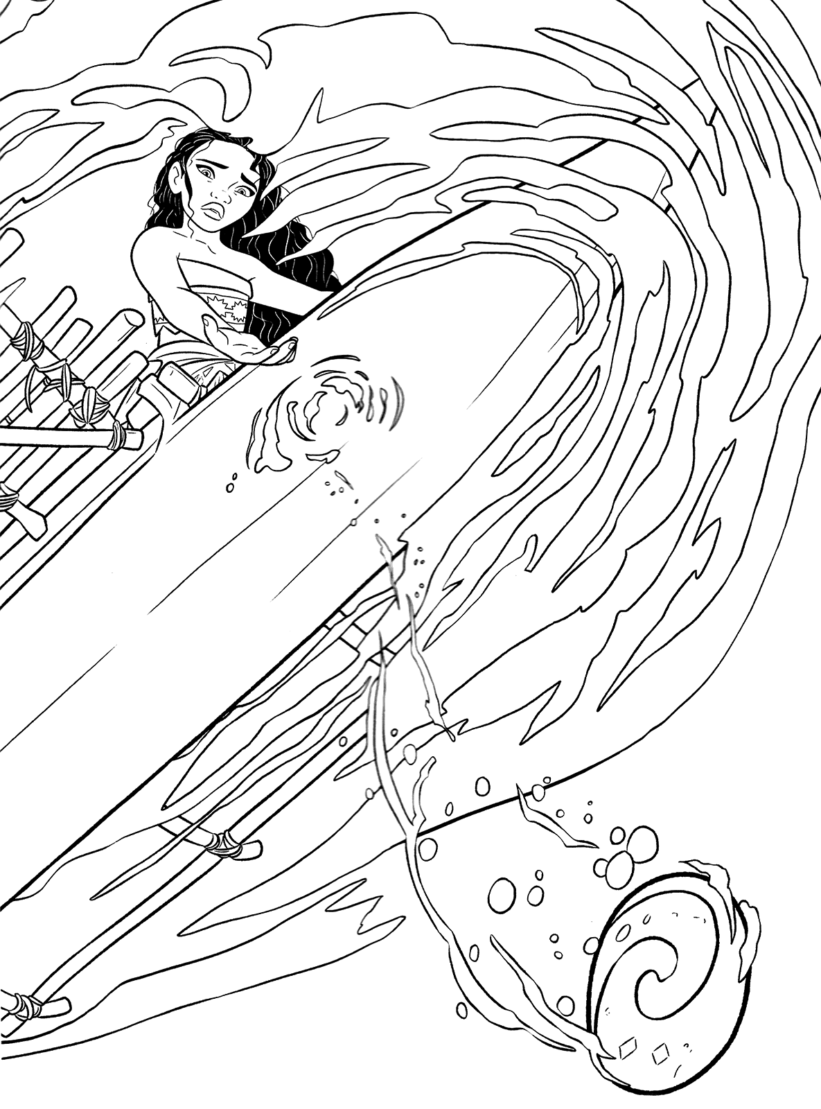 Simple Moana Coloring Page To Download For Free