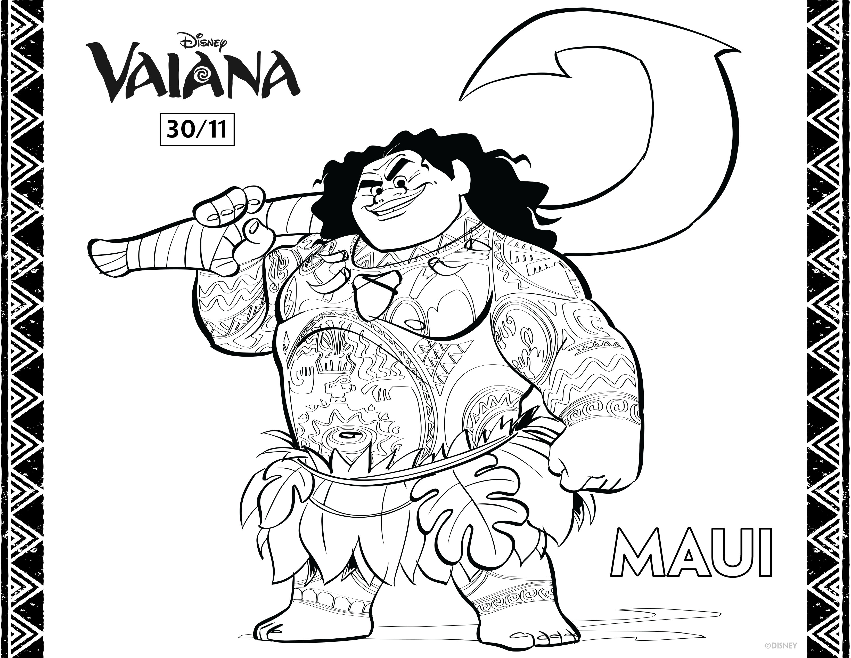 Free Moana Coloring Page To Download