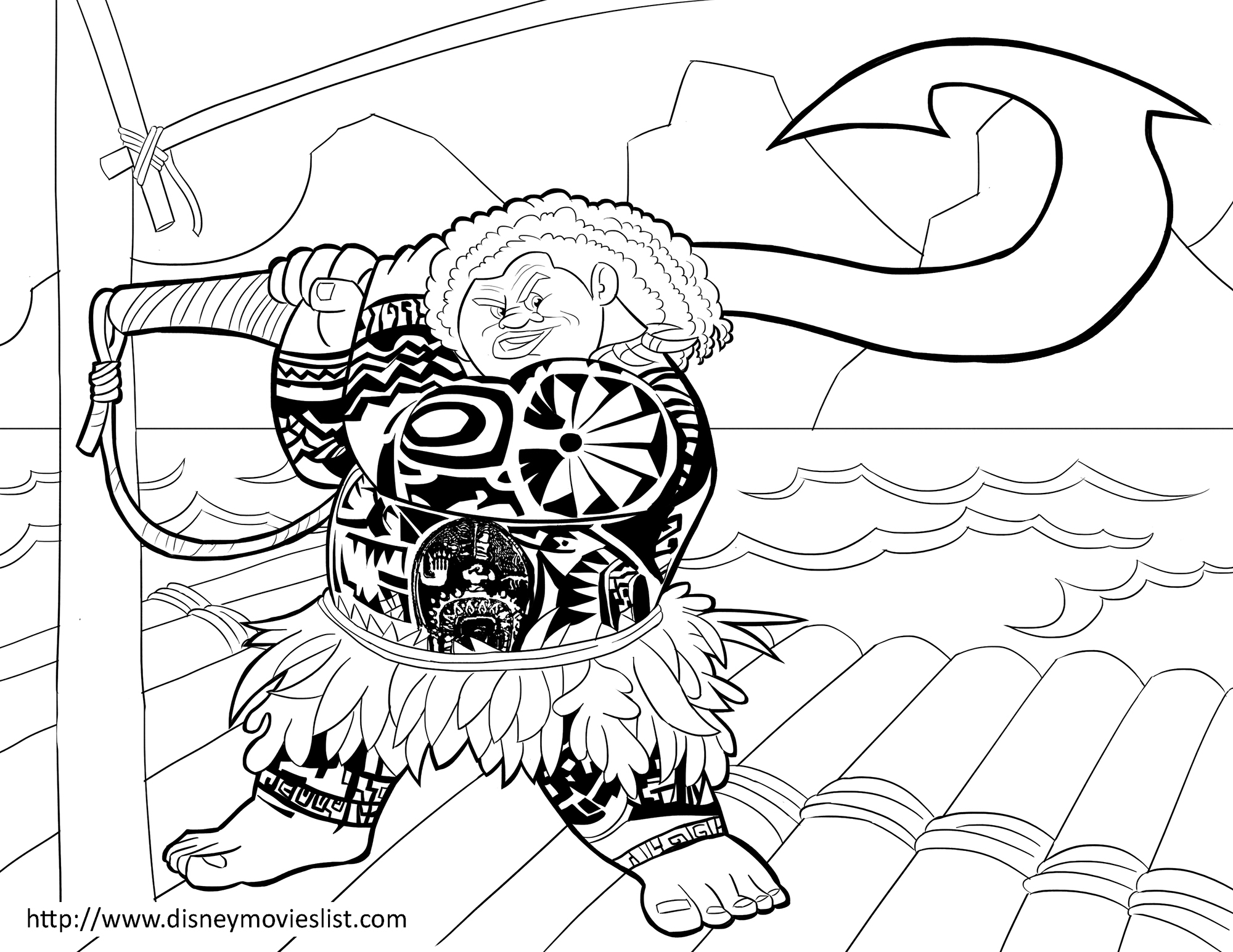 Moana coloring page to download for free : Chief Tui