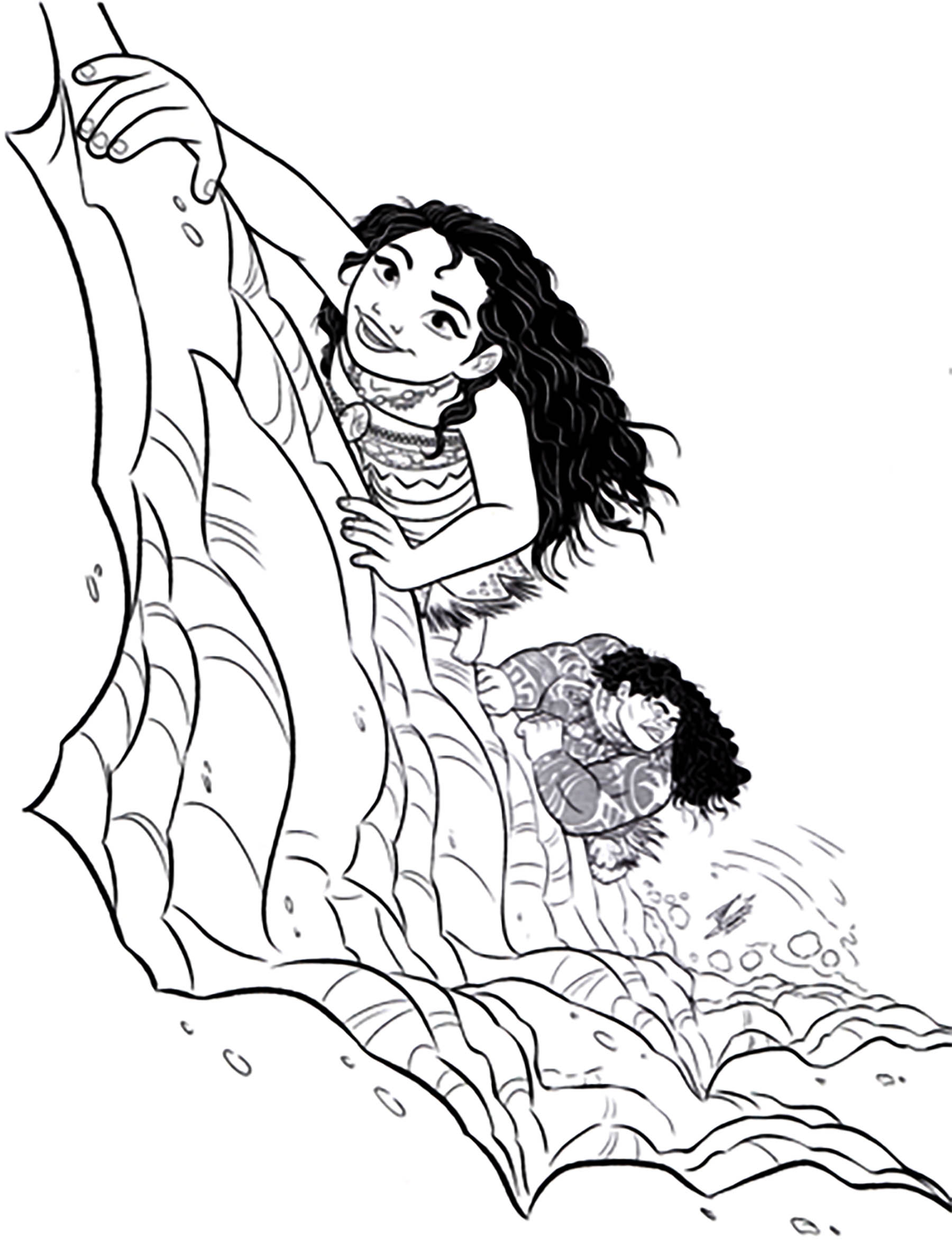Simple Moana coloring page for kids : Chief Tui and Moana