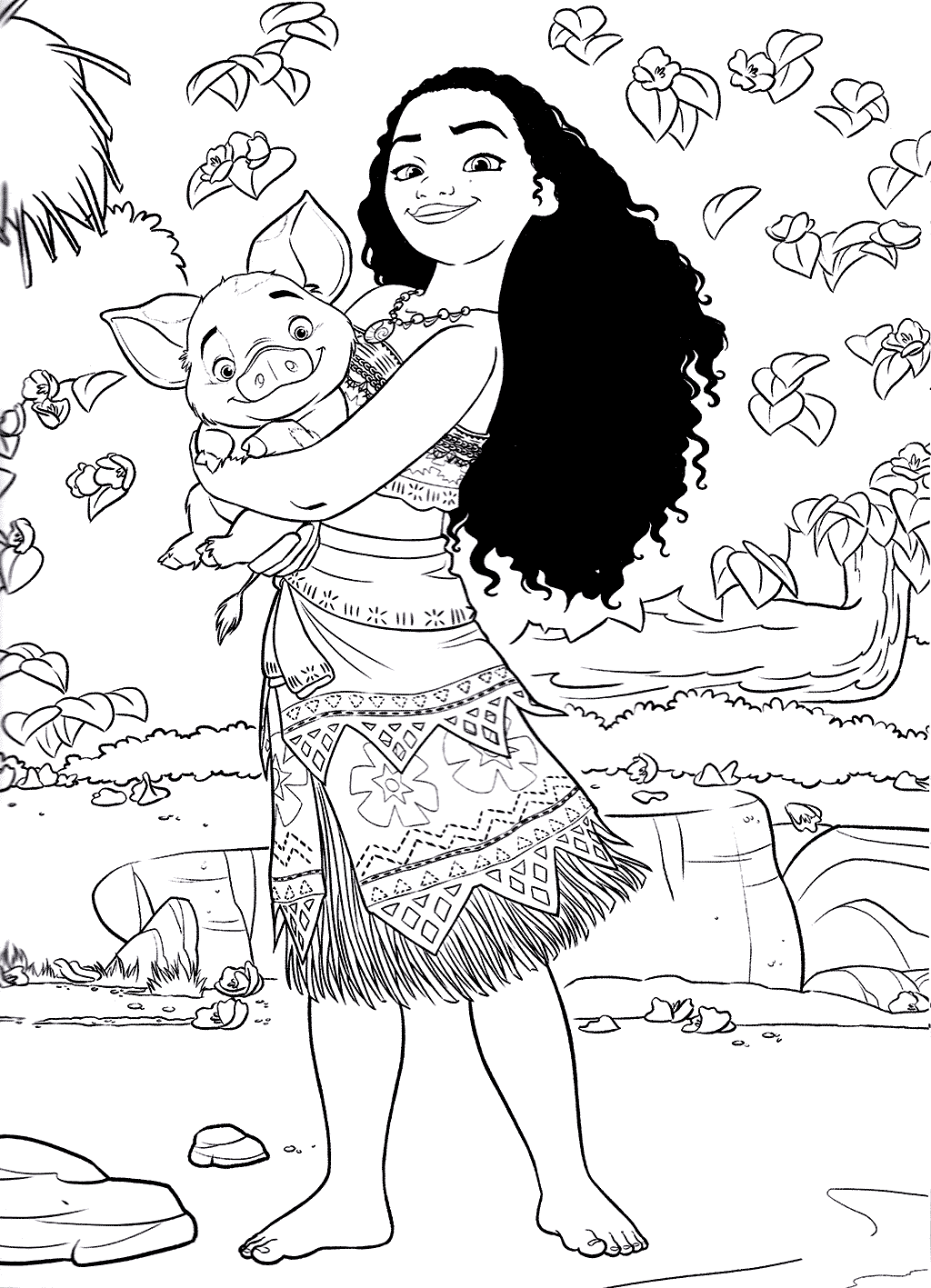 Beautiful Moana coloring page to print and color : Moana and Pua her pig