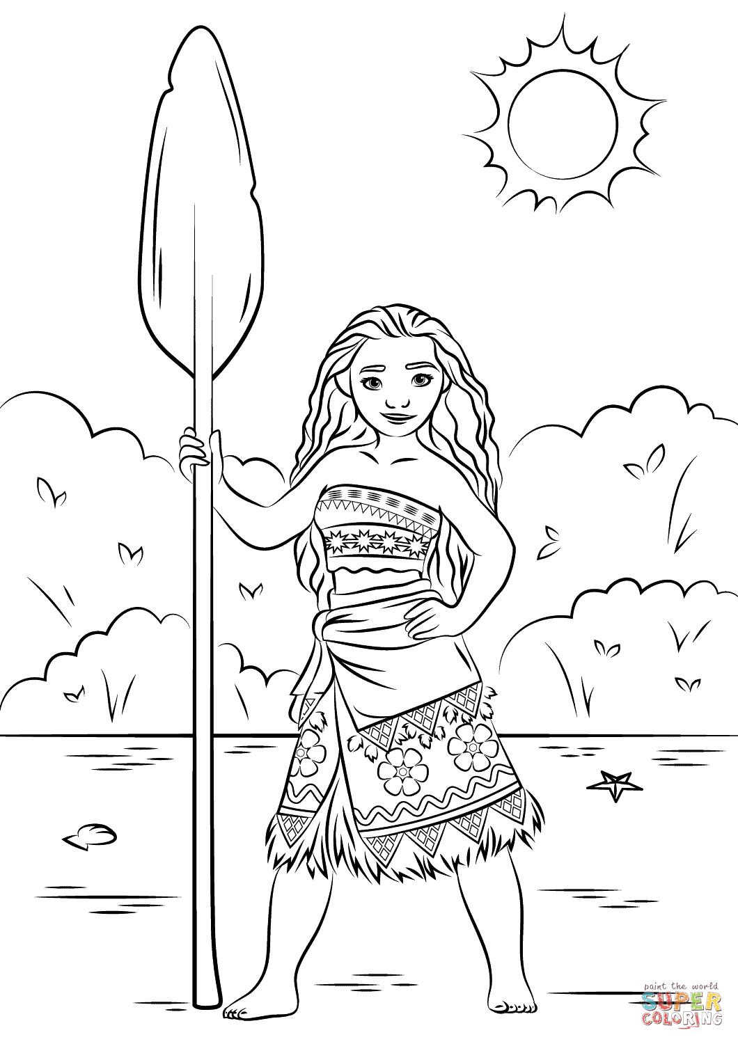 simple moana coloring page for children - Coloring Page Moana