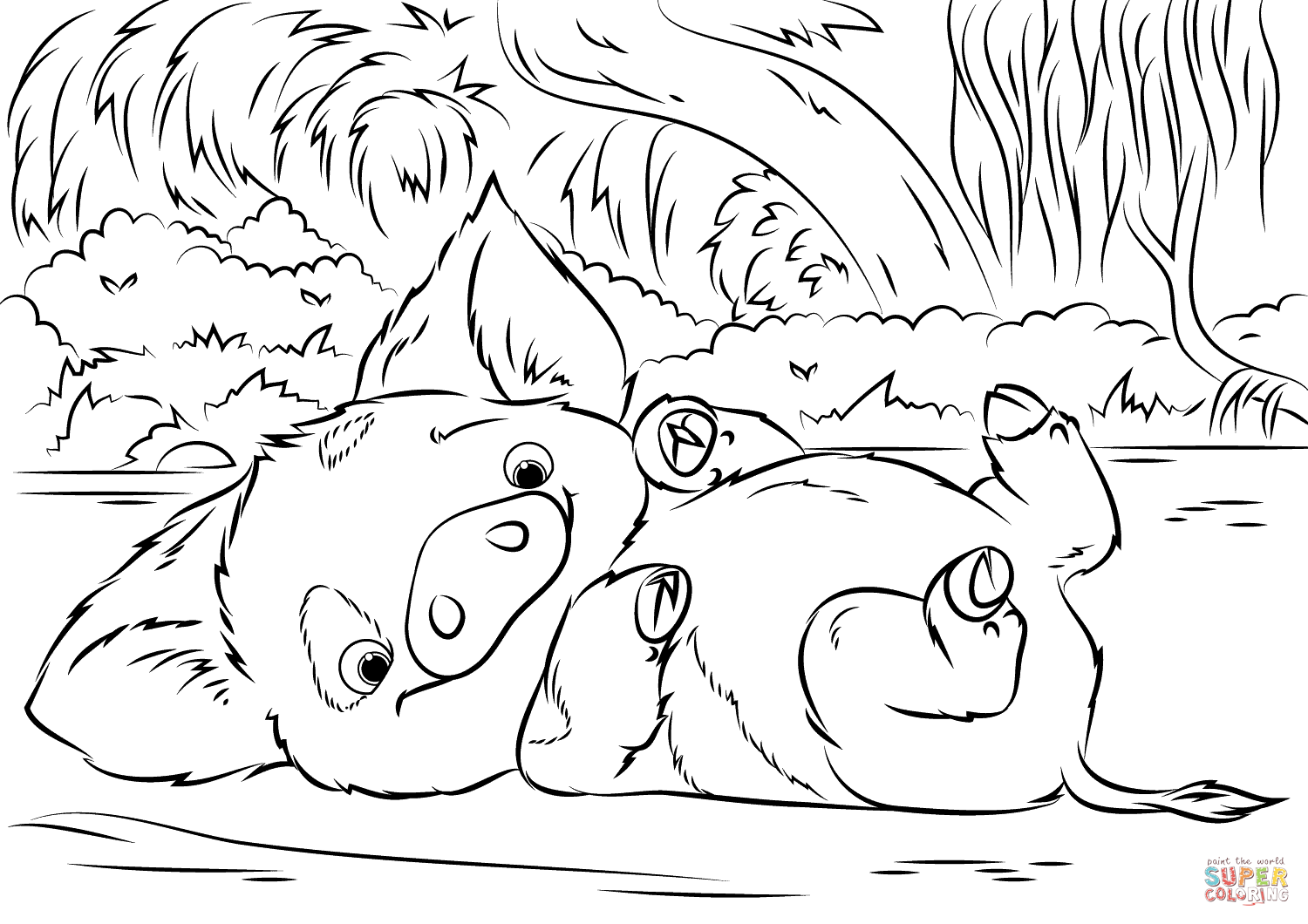 Incredible Moana coloring page to print and color for free : little Pig Pua playing