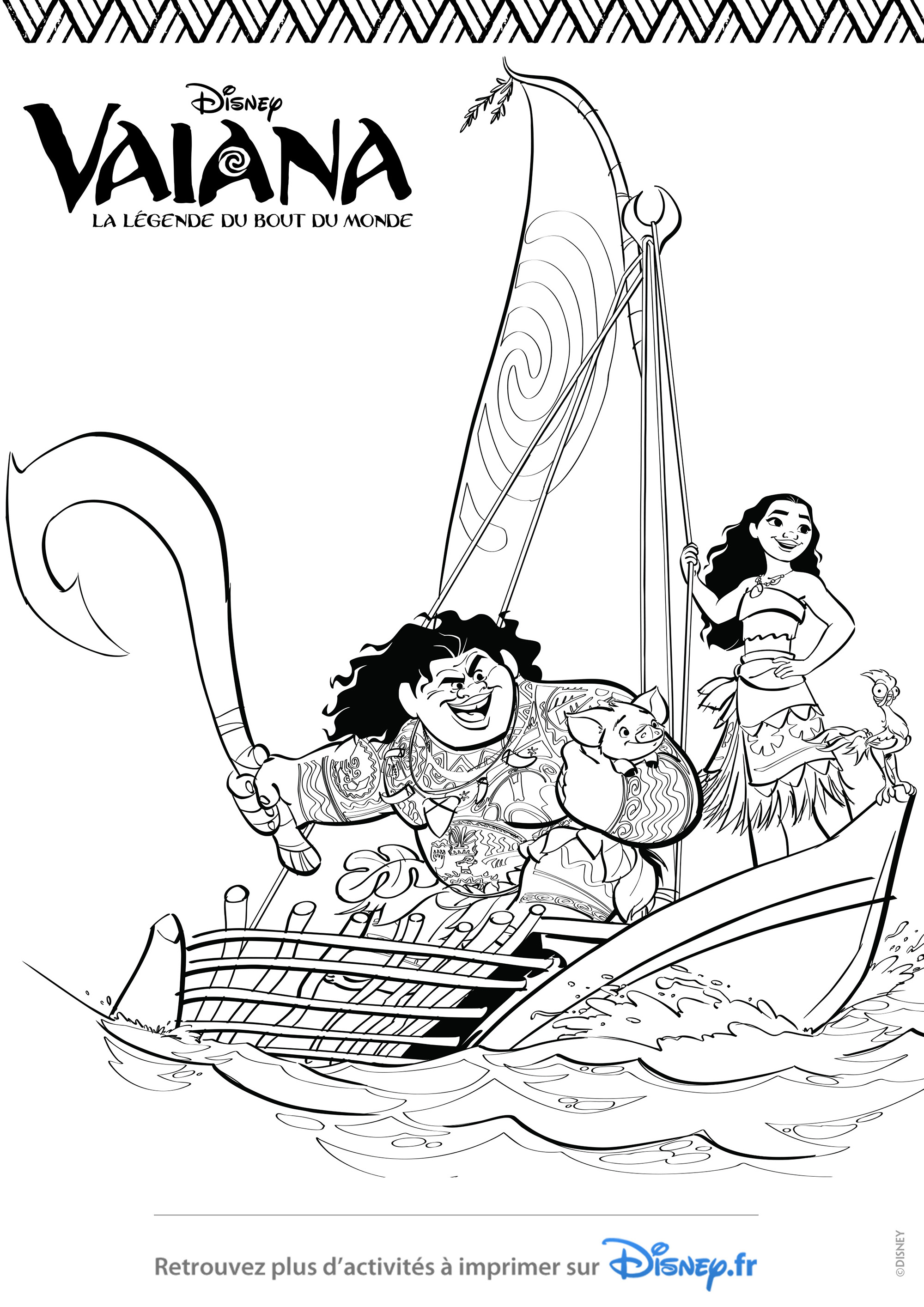 Simple Moana coloring page for children : Moana, Chief Tui in a boat