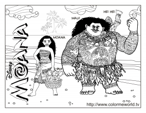 Coloring page moana to color for children