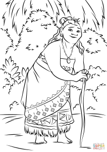 Coloring page moana for kids