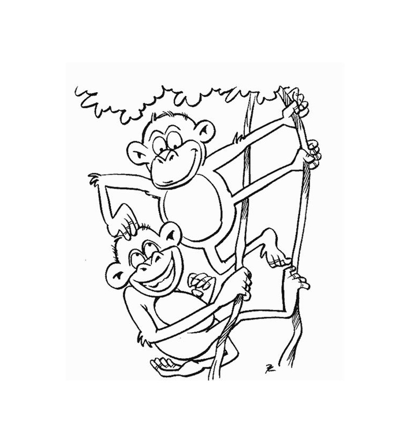 Simple Monkeys Coloring Page For Kids