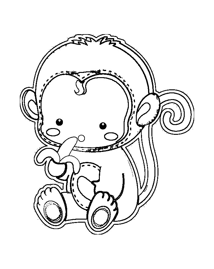 Monkeys To Color For Kids - Monkeys Kids Coloring Pages