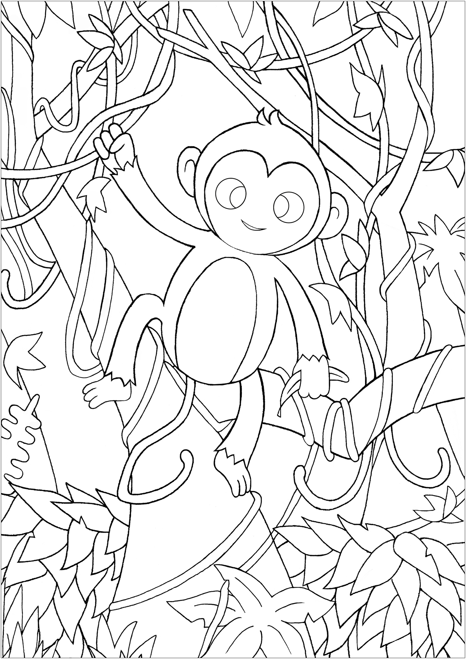 Funny Monkeys coloring page for children