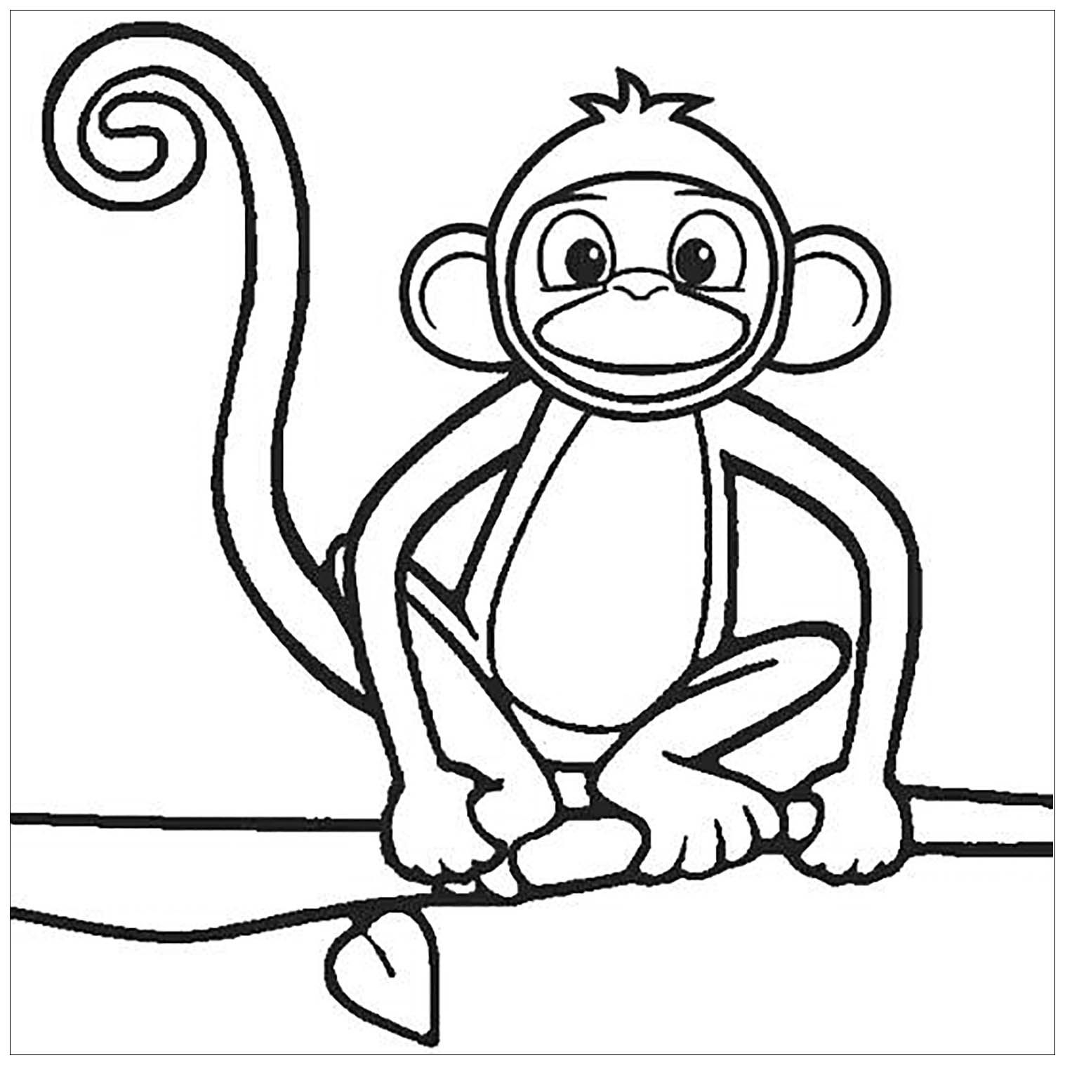 - Monkeys To Color For Kids - Monkeys Kids Coloring Pages