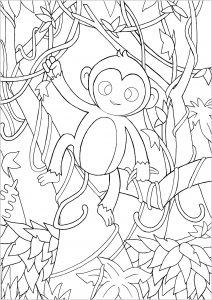 Coloring page monkeys free to color for children