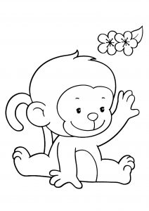 Coloring page monkeys for kids