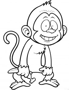 Coloring page monkeys for children