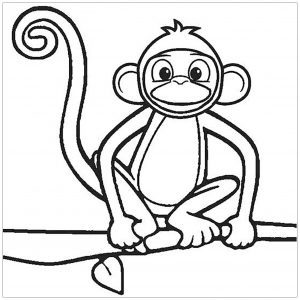 Coloring page monkeys to color for kids