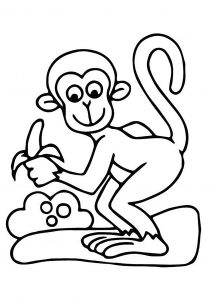 Coloring page monkeys to color for children