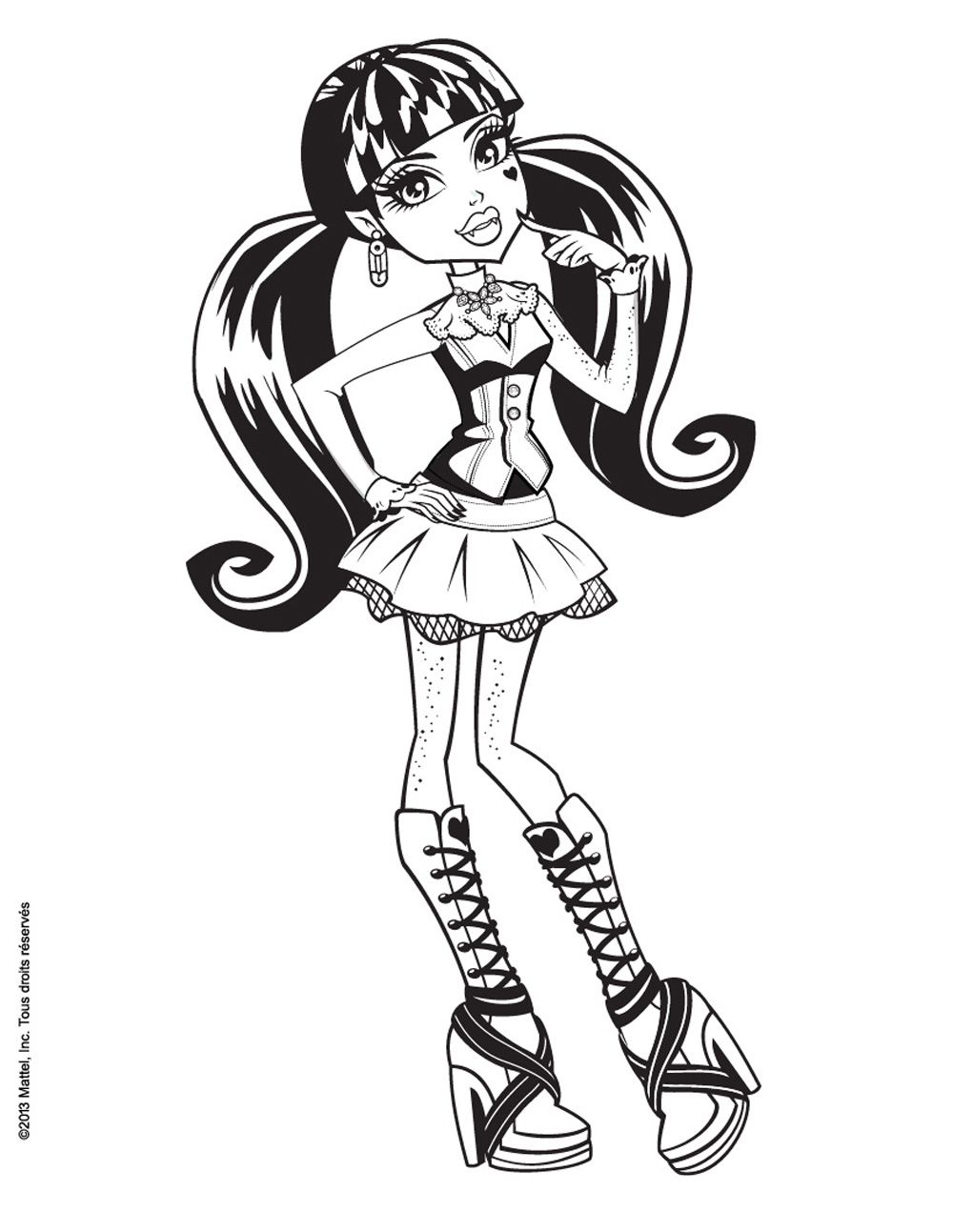 Monster High coloring page with few details for kids