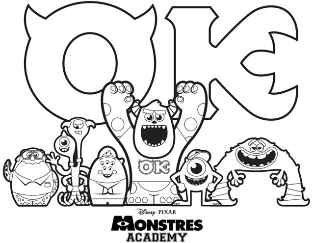 Free Monsters Academy coloring page to print and color