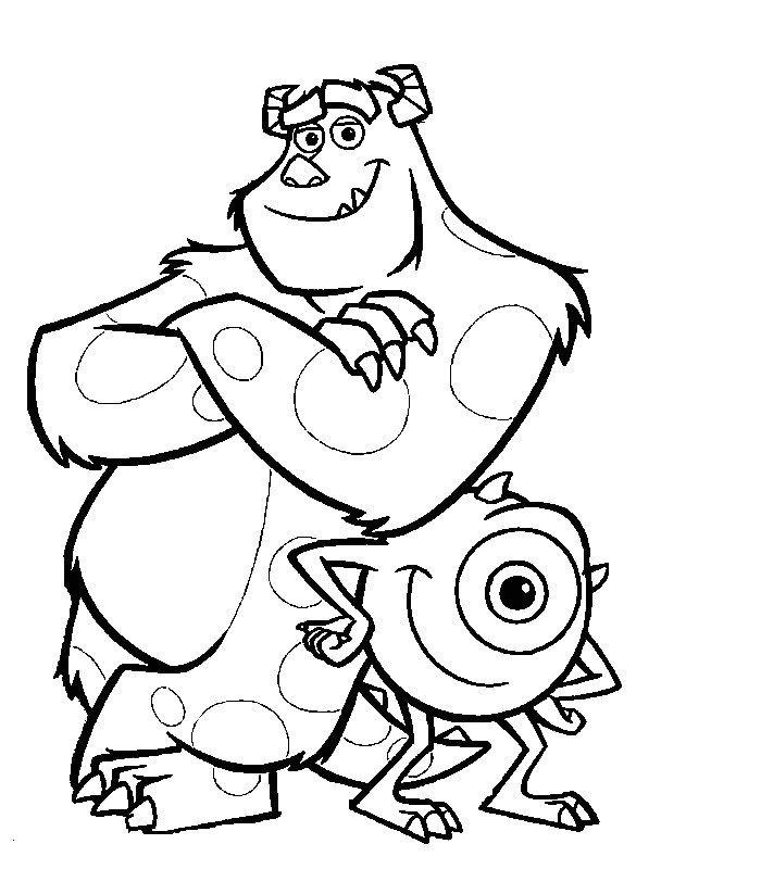 Monsters And Company coloring page to download : Mike Wazowski and James P. Sullivan