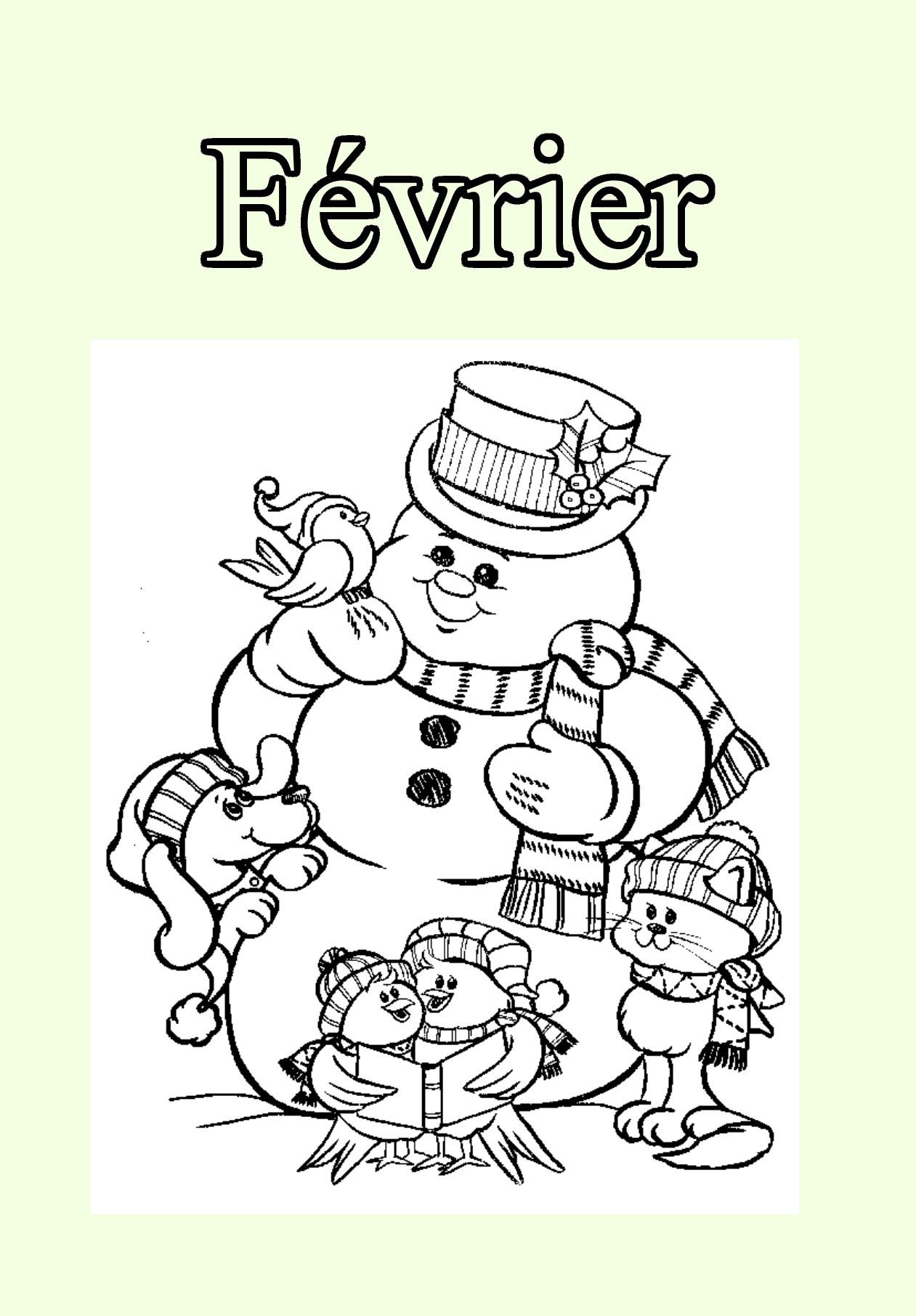 Month coloring page with few details for kids