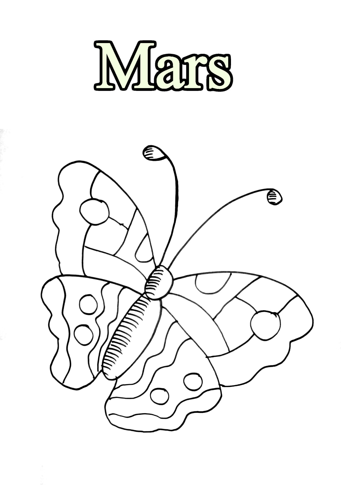 Easy free Month coloring page to download