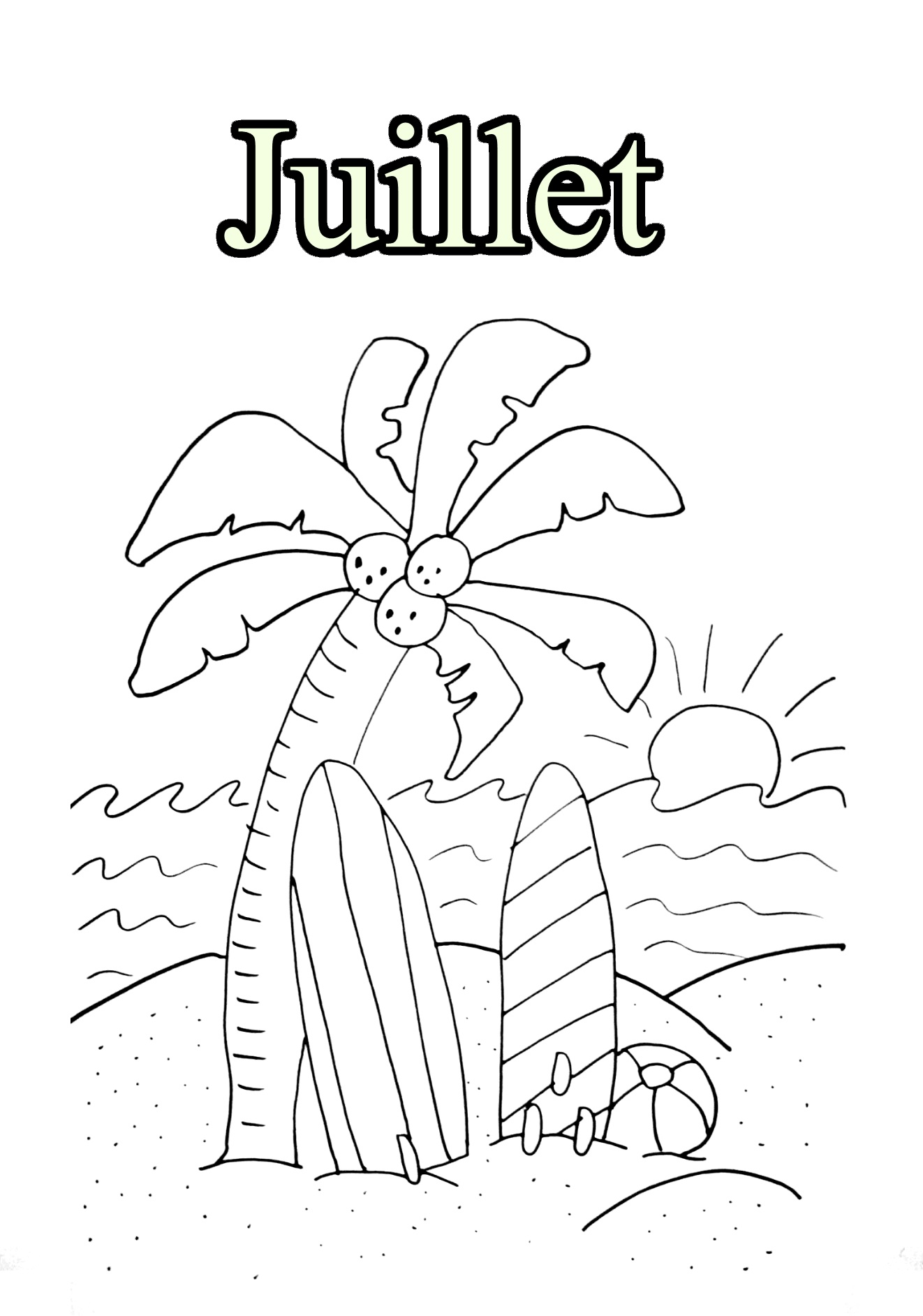 Funny Month coloring page for kids