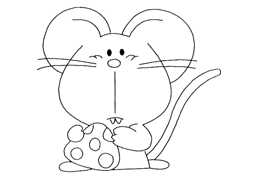 Mouse coloring page with few details for kids