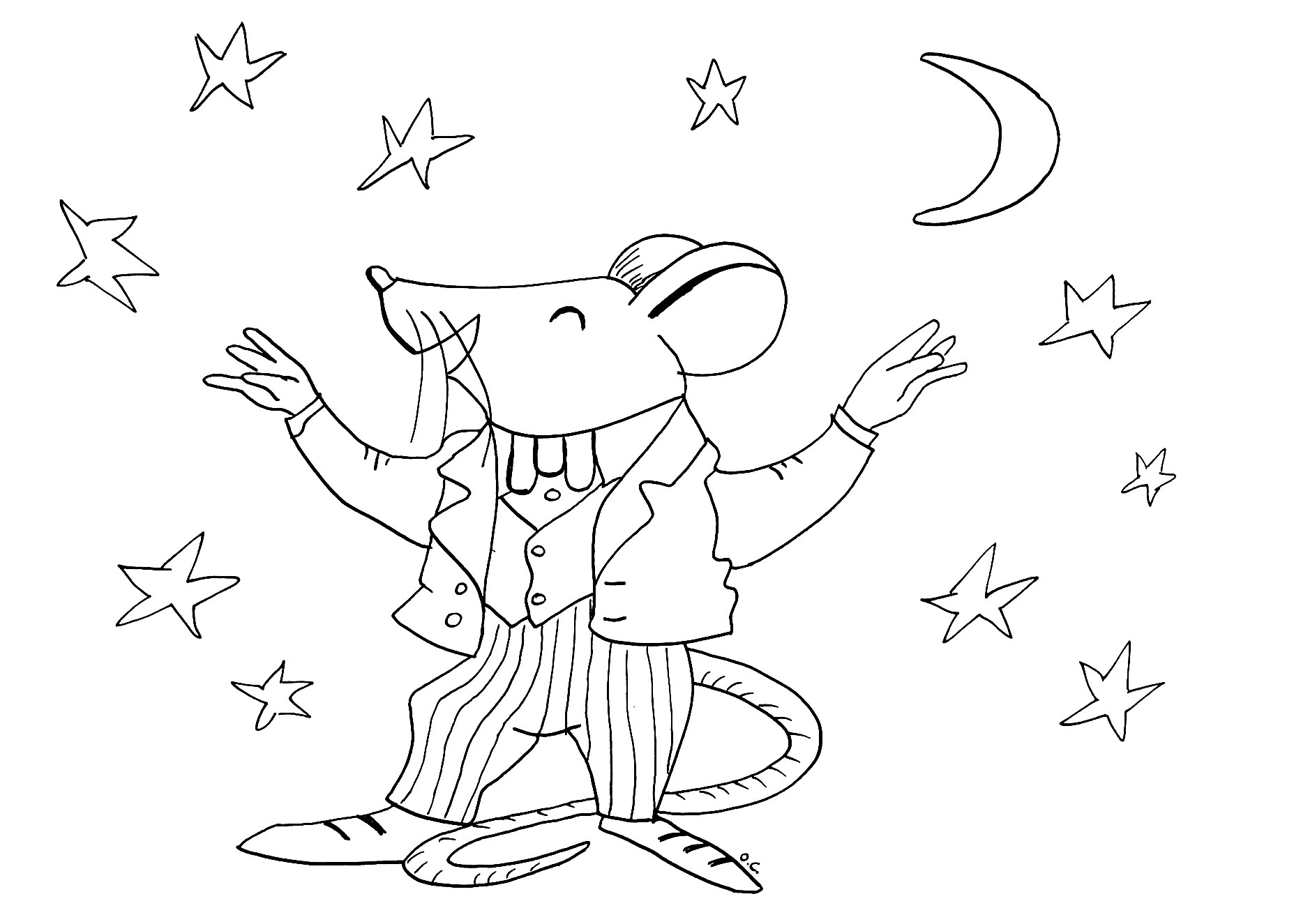 Funny free Mouse coloring page to print and color