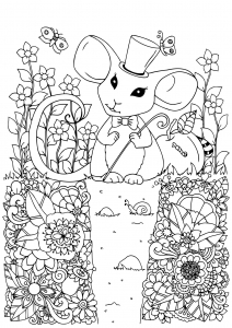 Coloring page mouse to print