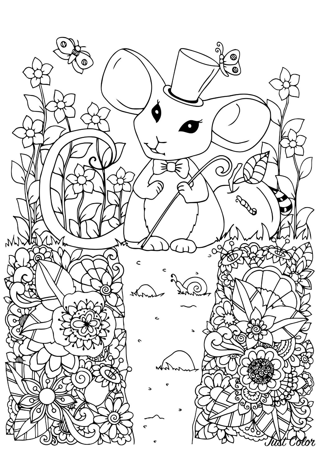 Cute free Mouse coloring page to download