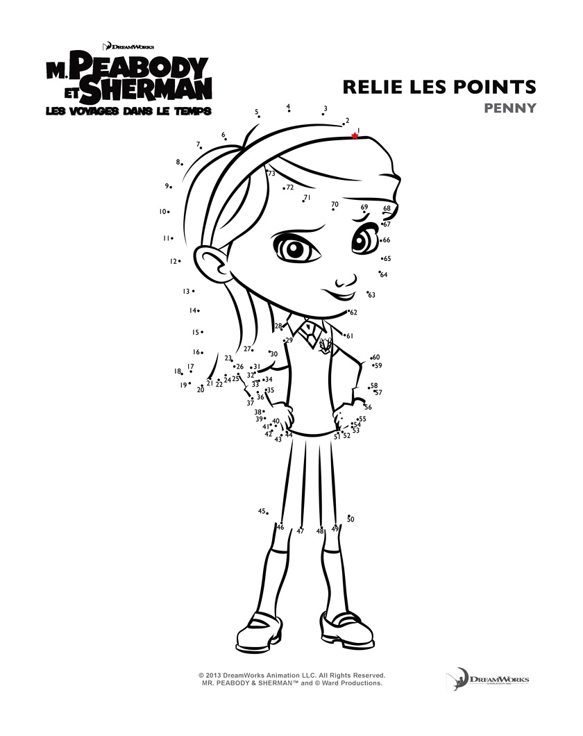 Simple Mr Peabody & Sherman coloring page for kids