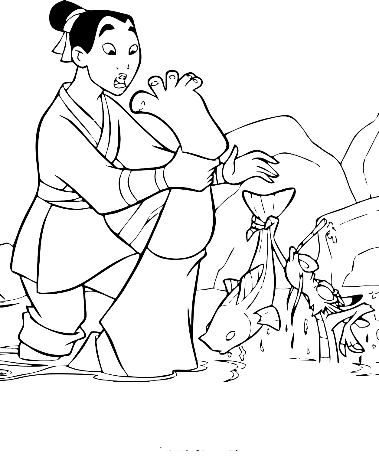 Simple free Mulan coloring page to print and color